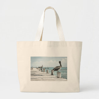 Pelican on Pier Large Tote Bag