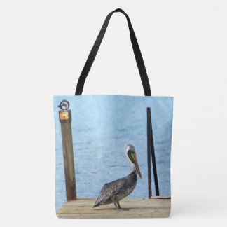 Pelican on the pier, Curacao, Caribbean Islands Tote Bag