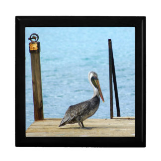 Pelican on the pier, Curacao, Caribbean, Large Keepsake Boxes