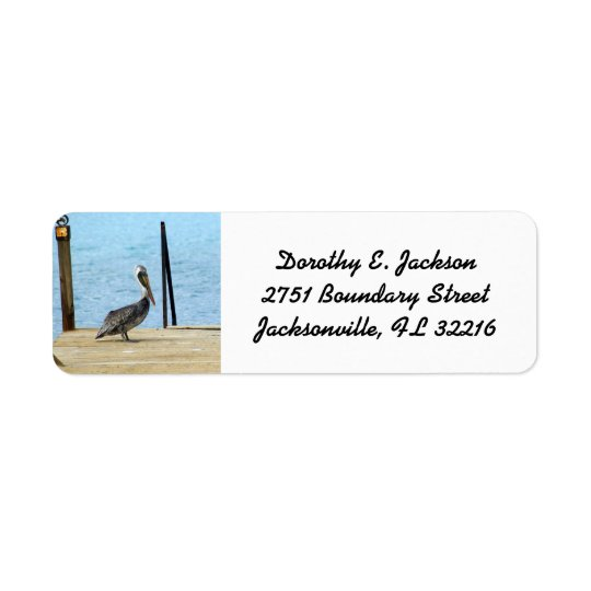Pelican on the pier, Curacao, Photo Return Address Return Address Label