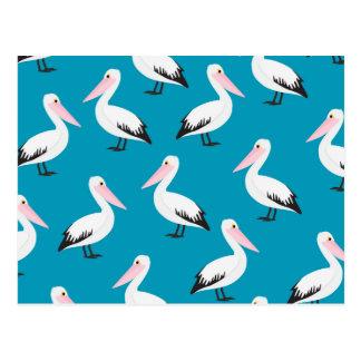 Pelican pattern postcard