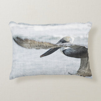 Pelican Pelicans Ocean Blue Brown Accent Pillow