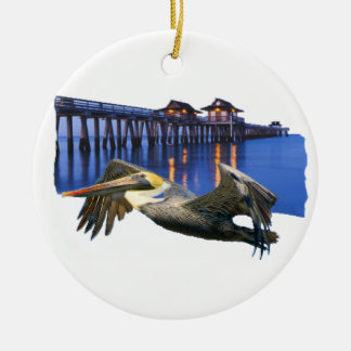 Pelican Pier Round Ceramic Ornament