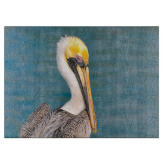 Pelican Portrait Close Up with Ocean in Background Cutting Board