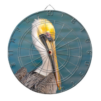Pelican Portrait Close Up with Ocean in Background Dartboard