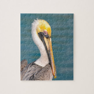 Pelican Portrait Close Up with Ocean in Background Jigsaw Puzzle