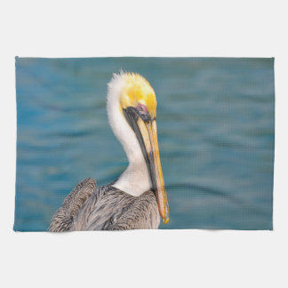 Pelican Portrait Close Up with Ocean in Background Kitchen Towel