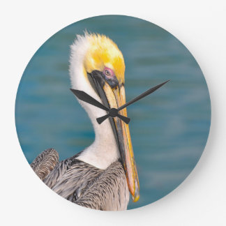 Pelican Portrait Close Up with Ocean in Background Large Clock