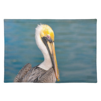 Pelican Portrait Close Up with Ocean in Background Placemat