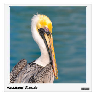 Pelican Portrait Close Up with Ocean in Background Wall Sticker