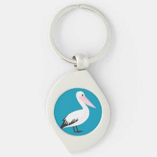Pelican Silver-Colored Swirl Keychain