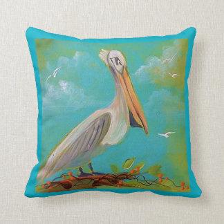 Pelican Tropical Bird Throw Pillow