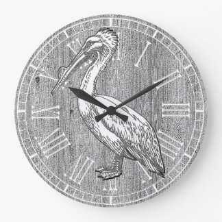 Pelican Weathered Wood Large Clock