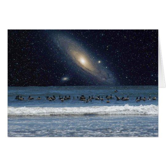 Pelicans and Andromeda Galaxy Card