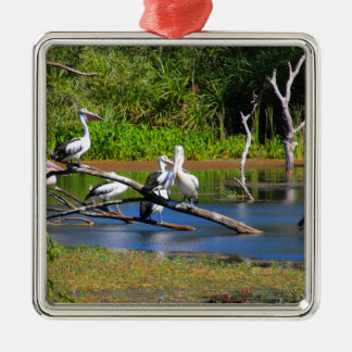 Pelicans in wetlands, Outback Australia Metal Ornament