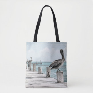 Pelicans On A Rustic Pier Tote Bag