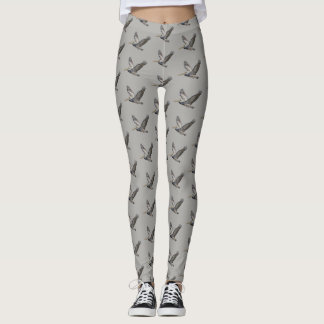 Pelicans on Grey Background Leggings