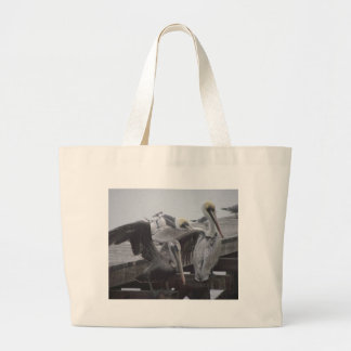 Pelicans on Pier Large Tote Bag