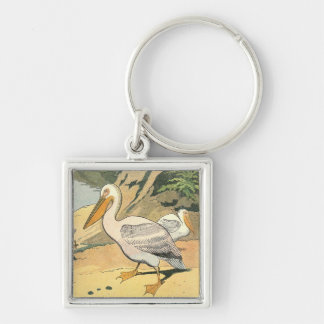 Pelicans on the Beach Illustrated Silver-Colored Square Keychain