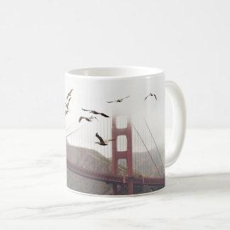 Pelicans Over San Francisco Coffee Mug