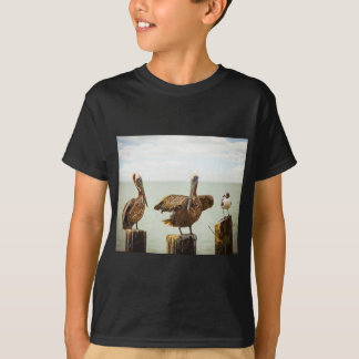 Pelicans perched on posts T-Shirt