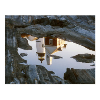 Pemaquid Point Lighthouse Tide Pool Reflection Postcard