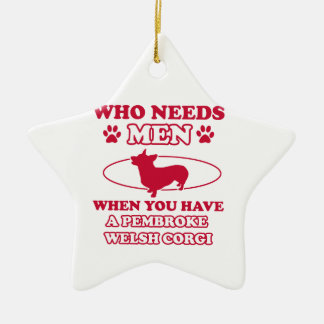 Pembdroke welsh corgi mommy design ceramic star ornament
