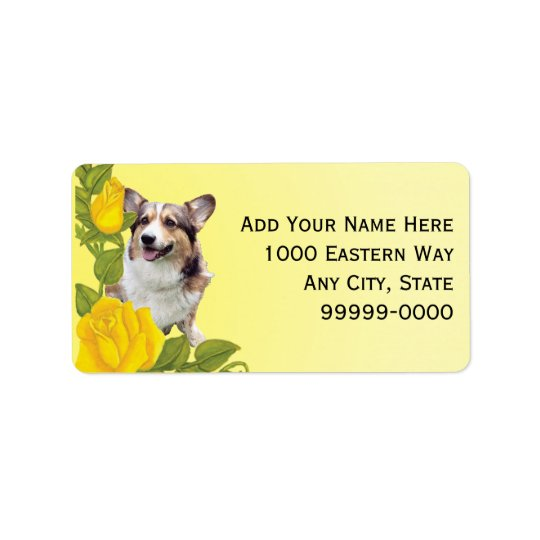 Pembroke Corgi and Yellow Roses Label