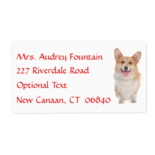 Pembroke Corgi  Name Return Address  Mailing Label Shipping Label