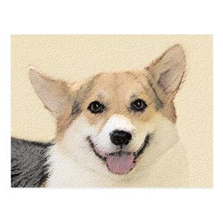 Pembroke Welsh Corgi 2 Painting - Original Dog Art Postcard