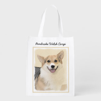 Pembroke Welsh Corgi 2 Painting - Original Dog Art Reusable Grocery Bag