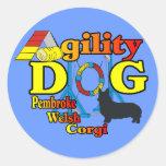 Pembroke Welsh Corgi Agility Shirts Gifts Round Sticker
