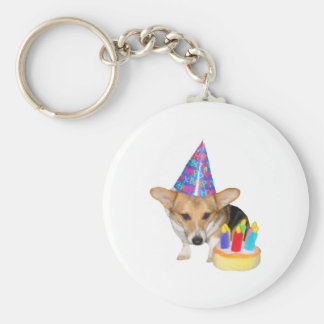 PEMBROKE WELSH CORGI-BIRTHDAY BASIC ROUND BUTTON KEYCHAIN
