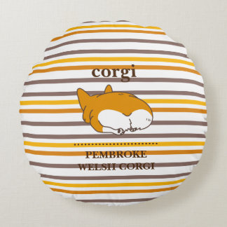 pembroke welsh corgi border round pillow