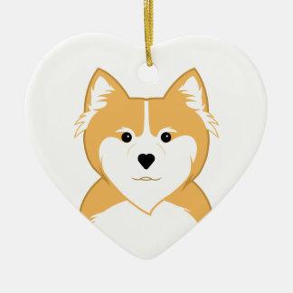 Pembroke Welsh Corgi Ceramic Heart Ornament