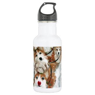 pembroke welsh Corgi Christmas Reindeer 532 Ml Water Bottle