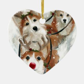 pembroke welsh Corgi Christmas Reindeer Ceramic Ornament