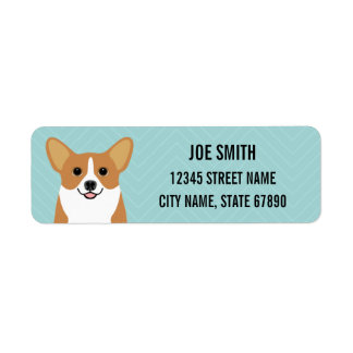Pembroke Welsh Corgi Dog Blue Return Address Label