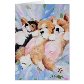 Pembroke Welsh Corgi Dog Puppy Art Card