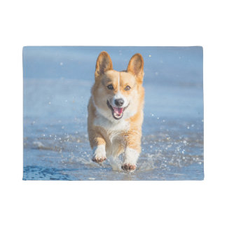 Pembroke Welsh Corgi Dog Running On The Beach Doormat