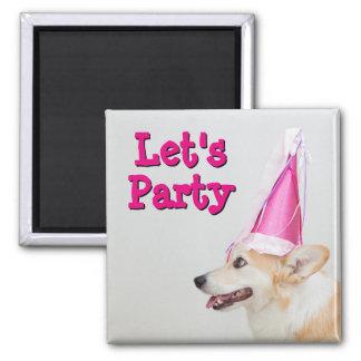 Pembroke Welsh Corgi Dog Wearing A Birthday Hat Magnet