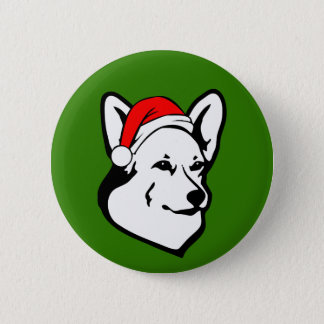 Pembroke welsh Corgi Dog with Christmas Santa Hat 2 Inch Round Button
