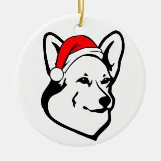 Pembroke welsh Corgi Dog with Christmas Santa Hat Ceramic Ornament