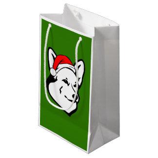 Pembroke welsh Corgi Dog with Christmas Santa Hat Small Gift Bag