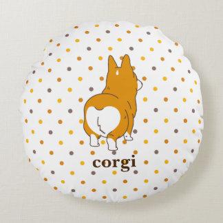 pembroke welsh corgi dot round pillow