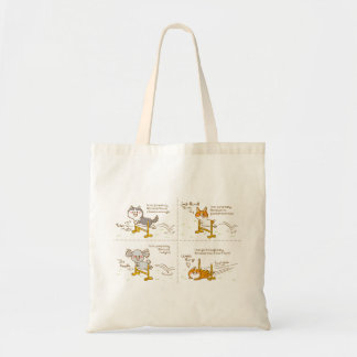 pembroke welsh corgi four-panel cartoon tote bag