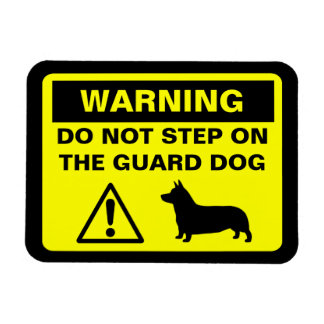 Pembroke Welsh Corgi Guard Dog Warning Rectangular Photo Magnet