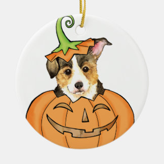 Pembroke Welsh Corgi Halloween Round Ceramic Ornament