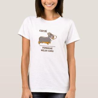pembroke welsh corgi hand drawing, black & tongue T-Shirt
