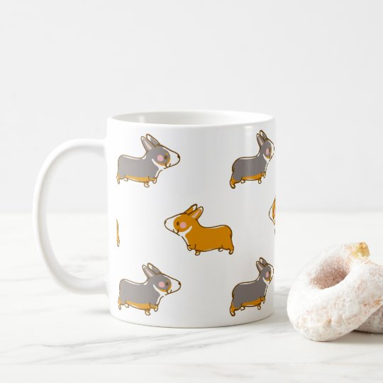 pembroke welsh corgi hand drawing handle coffee mug